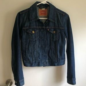 levi's fitted ex boyfriend blue jean jacket xs